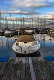 Yachten auf HerbstParkplatz auf Genfersee, SCHWEIZER stockbild