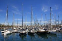 Yachten in Barcelona Stockfotos