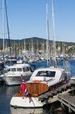 Yachten bei Dronningen Marina Oslo stockfotografie