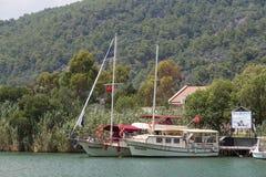Yachten in Dalyan Stockbild