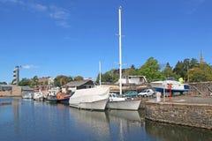 Yachten in Exeter Quay, Devon stockbild