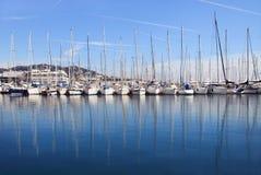 Yachten im Kanal von Cannes Stockfoto