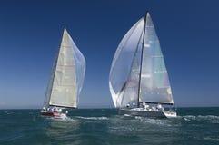 Yachten konkurrieren in Team Sailing Event Stockbild