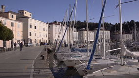 Yachten am Liegeplatz stock footage