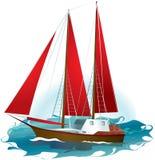 Yachten med rött seglar stock illustrationer