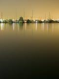 Yachten nachts 1 Lizenzfreies Stockbild