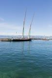 Yachten, Segelboote auf dem See sogar in Frankreich Lizenzfreies Stockbild