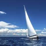 Yachten seglar med härlig molnfri himmel segling Royaltyfri Bild