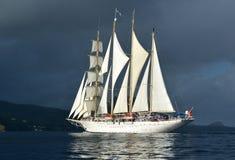 Yachten seglar med härlig molnfri himmel segling Lyxig yacht Royaltyfri Bild