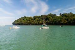 Yachten verankert von Ile Royale in Französisch-Guayana stockfotos
