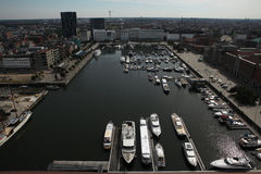 Yachter förtöjde på Willem Dock i Antwerp, Belgien Arkivfoton