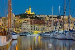Yachter i den Marseille porten Arkivfoto