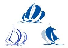 Yachter och segelbåtar vektor illustrationer