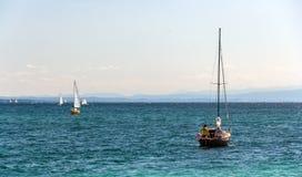 Yachter på Konstanz sjön Royaltyfri Foto