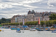 Yachter på sjön, Genève, Schweiz Arkivfoto