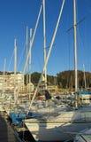 Yachter på sjösidan royaltyfria bilder