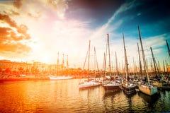 Yachter på solnedgången Royaltyfri Foto