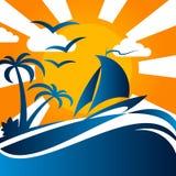 Yachter på vågorna och solen Arkivfoton