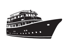 Yachtfartygsymbol Konturvektorskepp royaltyfri illustrationer