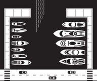 Yachthamn från över vektor illustrationer
