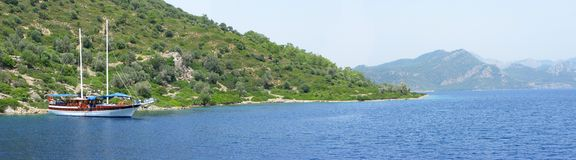 Yachting in aegean sea landscape panorama Stock Images