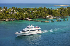 Yachting in the bahamas. Luxury yacht in turquoise waters of bahamas Stock Image