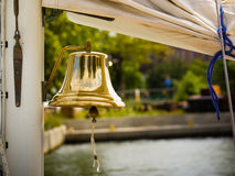 Yachting. Bell on sailing ship. Detail of a yacht boat Royalty Free Stock Images