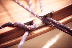 Yachting. Block with rope. Detail of a sailing boat Stock Photo
