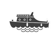 Yachting Boat Outline Icon Stock Photos