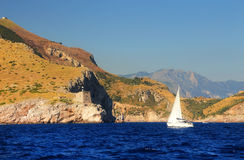 Yachting at Capri Island, Italy Royalty Free Stock Images