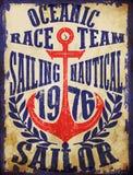 Yachting club , Grunge vector artwork for sportswear in custom c Royalty Free Stock Photo