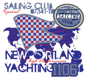 Yachting club , Grunge vector artwork for sportswear Royalty Free Stock Images