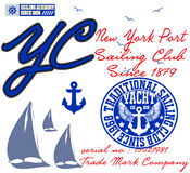 Yachting club; Grunge vector artwork for sportswear Stock Photo