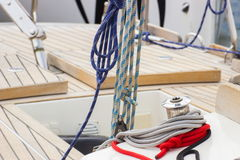 Yachting, colorful rope on sailboat, details of yacht Stock Image