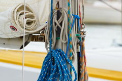 Yachting, colorful rope on sailboat, details of yacht Royalty Free Stock Photography