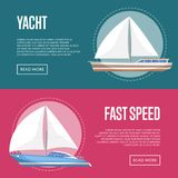 Yachting and cruising yachts flyers with sailboats. Marine explore tour advertising, trip on speedy cruise ship, world regatta competition. Sea voyage on Stock Images