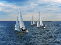 Yachting in Finland. Scenic panorama of the Baltic sea with yachts in Finland stock images