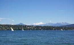Yachting in Geneva lake stock photos