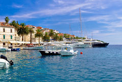 Yachting harbor of Hvar island Stock Images
