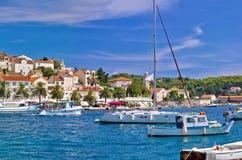 Yachting harbor of Hvar island Stock Photo