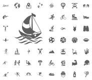 Yachting icon. Sport illustration vector set icons. Set of 48 sport icons. Yachting icon. Sport illustration vector set icons. Set of 48 sport icons vector illustration