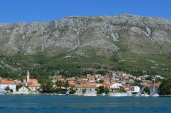 Yachting lifestyle. Pananorama of Kotor bay`s riviera. Yachting lifestyle. Pananorama of croatian riviera. Europe. Adriatic sea of Mediterranean area royalty free stock images