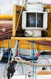 Yachting, Parts of old wooden sailboat in port of sailing Stock Images