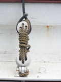 Yachting. Parts of yacht, block with rope. Stock Photo