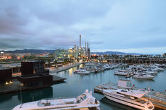 Yachting port with some reflections in Barcelona at night. Empty copy space for Editor`s text Royalty Free Stock Photo