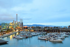 Yachting port with some reflections in Barcelona at night. Empty copy space for Editor`s text Stock Photos