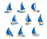 Yachting and regatta symbols stock illustration