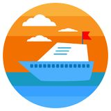Yachting in round suit icon. Vector illustration. Tropical sunset. Summer Banners with marine symbols. Sea leisure sport. Royalty Free Stock Photography