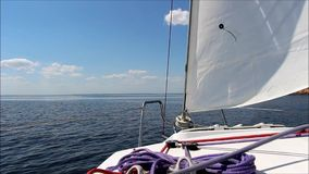 Yachting. Sailing on a clear sunny day on the Blue River stock video