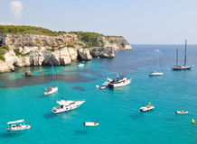 Yachting and sailing on Menorca balearic island Stock Images